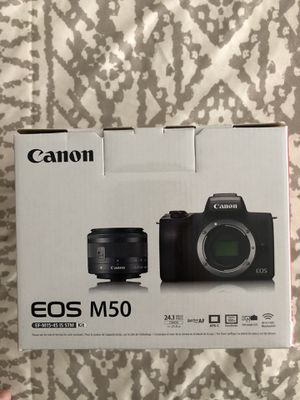Canon - EOS M50 Mirrorless Camera with EF-M 15-45mm f/3.5-6.3 IS STM Zoom Lens - Black for Sale in Los Angeles, CA