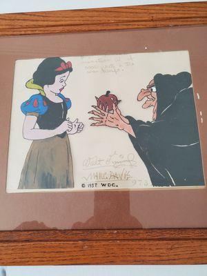1937 Original Animation Cel Snow White 7 Dwarfs Autographed by Marc Davis and Walt Disney for Sale in Hemet, CA