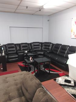 Ashley Reclining Leather Black Sectional for Sale in Parma,  OH