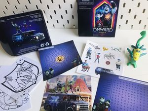 "Disney•PIXAR ""Onward"" game set: puzzles, stickers, maze, dragon toy and another for Sale in Rancho Cucamonga, CA"