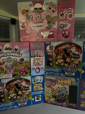 Paw Patrol, Hatchamals, lot of luck, Fingerling games and puzzles. for Sale in Adairsville, GA