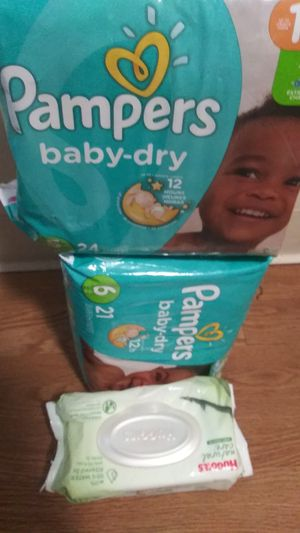 2pack of Pamper size 5&6 n 2pack of wipes 15$ for Sale in Akron, OH