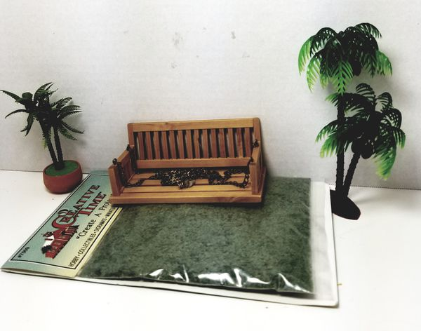 """""""Private listing for Cherice"""" DOLLHOUSE MINIATURE PORCH SWING GRASS PALMS"""