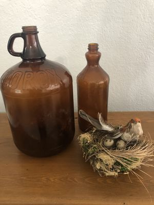 Set of 2 Antique Amber Glass Clorox Bottles for Sale in Miami, FL