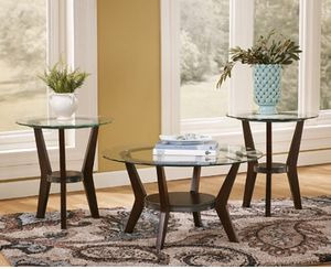 Fantell Tables (set of 3) - Round clear glass tables for Sale in San Diego, CA