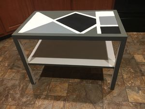 "Kittinger T152 30"" Square 2 tier. Custom handpainted white black and shades of gray for Sale in Powhatan, VA"