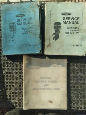 Vintage Mercury Outboard Motor Manuel's / Books 1966 thru 1974 for Sale in Bonney Lake, WA