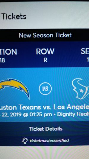 Chargers vs Houston Texans! for Sale in Riverside, CA