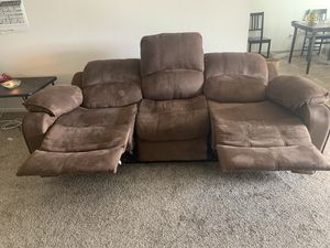 Dark brown suede Electric Recliner large Sofa for Sale in Tigard, OR