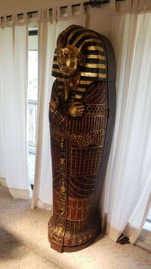 Life size 6'3 King tut bar/cabinet/vertical storage for Sale in LaBelle, FL