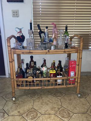 Bamboo Rolling Bar Cart for Sale in Miami, FL