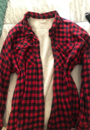 Navy and red long sleeve button flannel for Sale in Las Vegas, NV