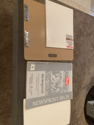 Art supplies, drawing/ sketch board with canvas, drawing paper and newsprint paper. for Sale in Dearborn Heights, MI