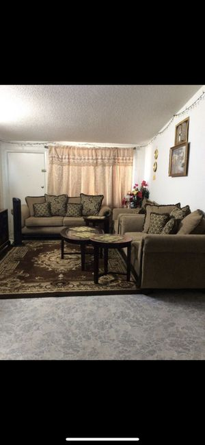 Like new 3 pc couch set - love seat and chair 3pc coffee table and end table set and rug 4 pc set curtains for Sale in Glendale, AZ