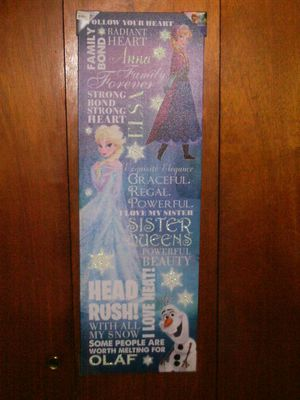 NEW DISNEY'S FROZEN PRINCESS ELSA / ANNA / OLAF WORDS WALL ART for Sale in Voorhees Township, NJ