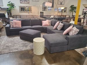 Fabric Sectional Sofa with Ottoman, Dark Grey for Sale in Fountain Valley, CA