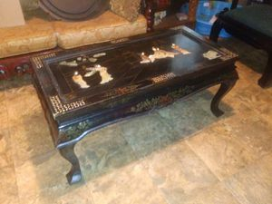 Chinese black lacquer handmade coffee table with folding legs Jade Pearl inlay good condition 650 for Sale in Houston, TX