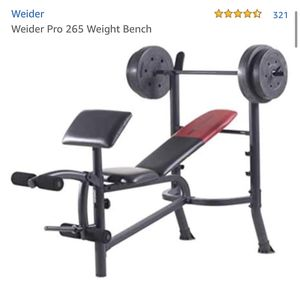 Adjustable weight bench with 80lb weight set and bar for Sale in Seattle, WA