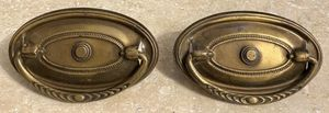 "Vintage Antique Set Of 2 Oval 3-1/8"" Long Cabinet Dresser Drawer Brass Pull Drop Handle Knobs With Screws for Sale in Chapel Hill, NC"