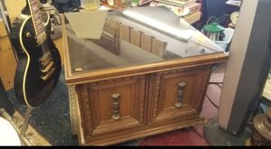Antique side table cabinet with glass for Sale in Garden Grove, CA