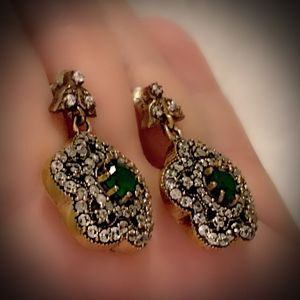 EMERALD FLOWER FINE ART DANGLE POST EARRINGS Solid 925 Sterling Silver/Gold WOW! Brilliantly Faceted Round Cut Gems, Diamond Topaz M5963 V for Sale in San Diego, CA