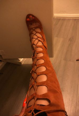 Laced high thigh heel boots size 7 for Sale in Irvine, CA