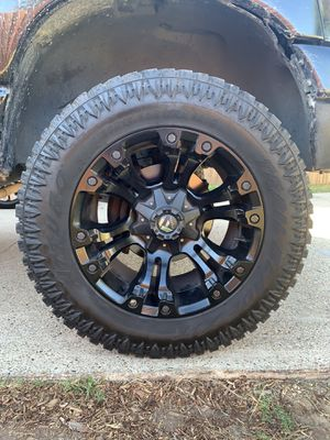 "Fuel vapor black rims Arturo tires 35"" 12.50 trade ? for Sale in Garland, TX"