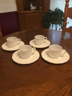 Antique Milk Glass Set of 4 Cups, and Plates for Sale in Boiling Springs, SC