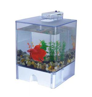 Desktop Deco 3L Aquarium Fish Tank Betta Cube Bowl w/USB LED Light & Gravel for Sale in Hacienda Heights, CA