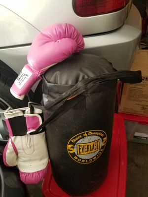 Boxing bag and gloves for Sale in Lakeland, FL