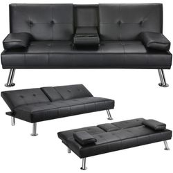 🔥New! MOVING-SPECIAL-Black exec sofa bed sleeper futon w/cupholder action! for Sale in San Diego,  CA