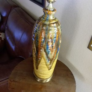 Mid century ceramic glazed lamp, sold without lamp shade for Sale in Riverside, CA