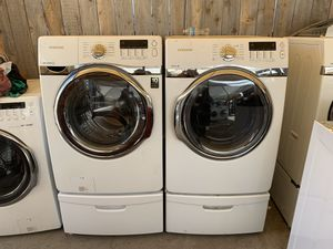 Samsung front load electric washer and dryer with 3 months warranty free delivery and installation for Sale in Oakland, CA
