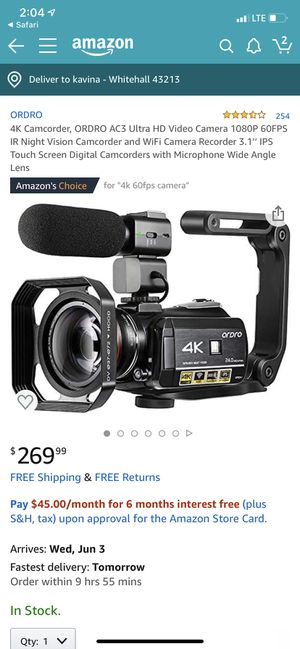 4K ordro camera for Sale in Whitehall, OH