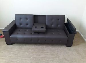 Brand New Leather Futon Sofa Bed w/Console for Sale in Silver Spring, MD