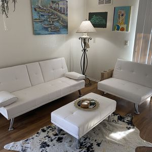 NEW White Futon Sofa- Adjustable Set Up! for Sale in San Diego, CA