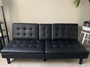 Black leather futon couch for Sale in Glendale, AZ