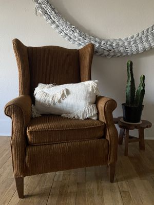 Winged Back Accent Chair - Velvet Stripes for Sale in Ruston, WA