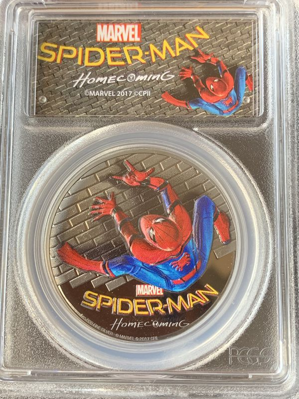 2017 Spider Man 1oz Silver Coin Pcgs Pr70 Dcam For Sale In