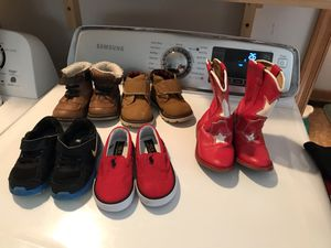 Boys shoes all size 6 one pair used all others new out fee too fast $30 lot,girls shoes brand new Lewis size 12 red Dansko clogs size 12 $30 lot seri for Sale in Charlottesville, VA