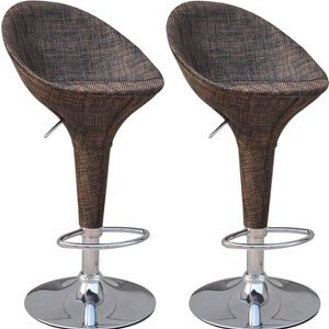 Vintage Wicker Rattan Adjustable Bucket Seat Patio Bar Stool - Set of 2 for Sale in Everman, TX