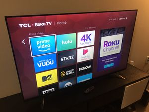 """TCL 55"""" 4K 2160p LED Smart UHD TV w/HDR Roku Television - purchased 1/11/2019 Like new for Sale in Dallas, TX"""