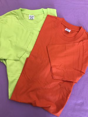 T-shirts 4 x 10 colors yellow-orange size m-l-xl short sleeve 4x $10 for Sale in Moreno Valley, CA