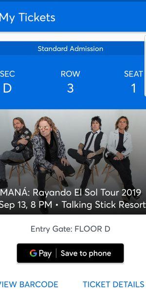 MANA FLOOR SEATS FOR SEPTEMBER 13 for Sale in Chandler, AZ