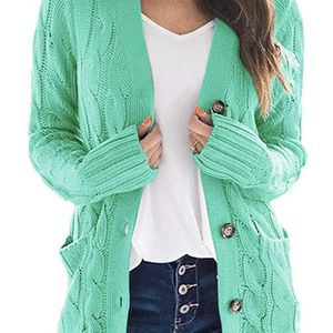 Women's Open Front Long Sleeve Cardigan Sweater Cable Knit Pocket Outwear Small ,turquoise for Sale in Marietta, GA