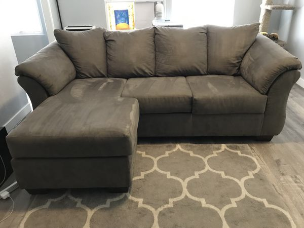 Like New Grey Sectional Couches and Kitchen Table for 2