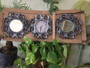 Two mirrors and a wall clock set for Sale in Los Angeles, CA