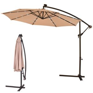 10' Patio Hanging Umbrella Sun Shade with Solar LED Lights for Sale in Fremont, CA