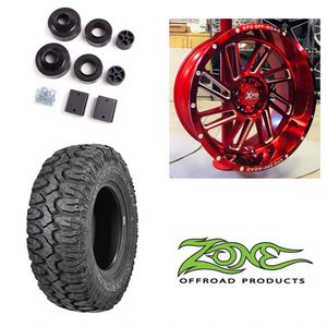 """TOTAL JEEP WHEEL AND LIFT KIT PACKAGE! New 20"""" Candy Red XPD Offroad Rims Wheels 35"""" Mud Terrain Tires 2"""" Zone Lift Kit INSTALLED! for Sale in Tampa, FL"""