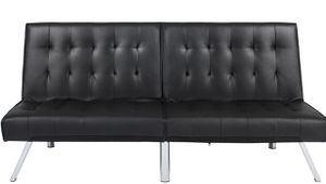Black faux leather futon / new on box for Sale in Las Vegas, NV